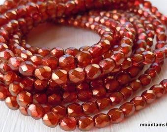 Czech 4mm Beads  - Halo Cardinal Czech Glass Beads Faceted Firepolished Round - 50 pcs