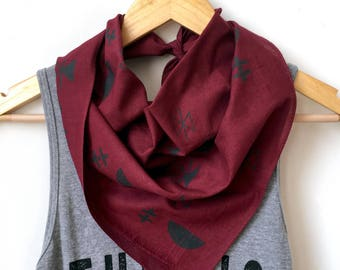 Moon + Stars Bandana in Burgundy and Gray