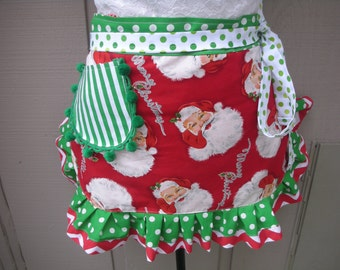 Womens Aprons - Christmas Aprons - Annies Attic Aprons - Holidays Aprons - Red Aprons - Etsy Aprons - Santa Aprons - Christmas Hostess Gifts