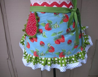 Aprons - Strawberry Aprons - Womens Half Aprons - Strawberry Fields Forever Aprons - Handmade Aprons - Annies Attic Aprons - Handmade Aprons