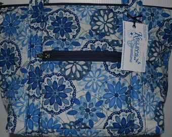 Quilted Fabric Handbag Purse with Beautiful Blue Flowers