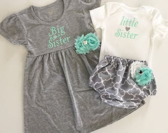 Big Sister Little Sister OUTFITS .. Shabby chic mint aqua green and grey dress and diaper cover onesie -sister Set..new baby..baby shower