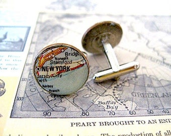 Vintage Long Island Map CuffLinks - Coin Dime Cuff Links Long Island -  New York - New York Cufflinks - Eco  Recycled Gift