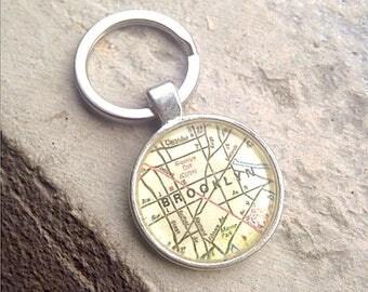 Brooklyn Map Pendant - Brooklyn Map Jewelry - Glass Pendant - CHARM ONLY - Brooklyn Map keychain - nyc man - gift idea boyfriend