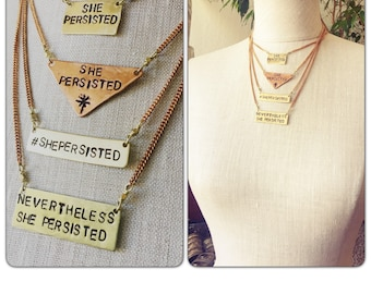 Nevertheless She Persisted Brass Necklace - Handstamped - Womens Rights - Feminist - human rights - she persisted jewery
