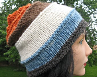 Father's Day Gift, Knit Wool Hat for Men or Women, Alpaca Handmade Beanie, Striped Slouch, Gray, Blue, White, Brown, Orange Hat