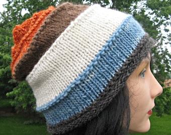 Knit Wool Hat for Men or Women, Alpaca Handmade Beanie, Striped Slouch, Gray, Blue, White, Brown, Orange Hat