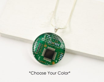 Circuit Board Necklace, Recycled Motherboard Jewelry, Geek Chic Necklace, Wearable Technology, Computer Gift, Computer Programmer, Upcycled