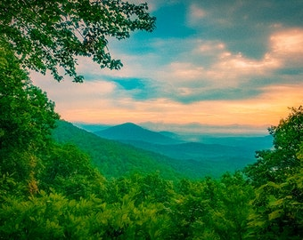 Blue Ridge Mountains Photography - A Misty Morning Landscape Near Asheville, North Carolina