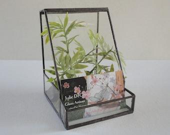 Glass Terrarium, Business Card Holder, Planter, Home Decor, Garden Art, Recycled Glass, Atrium, Conservatory, Greenhouse, Diorama Container
