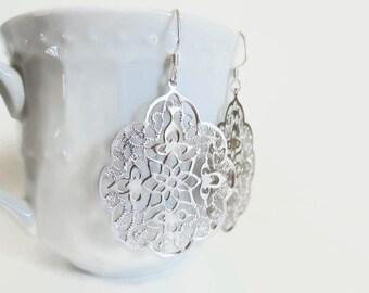Laser cut earrings, silver filigree earrings, persian earrings lacy silver earrings gothic earrings, moroccan style earrings, bridal jewelry