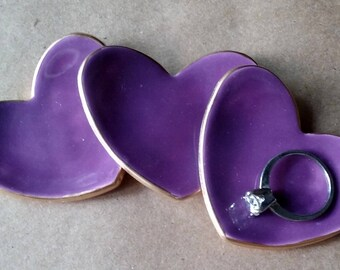 THREE Bridal Shower Baby shower favors ceramic hearts Purple Heart Ring Dishes 2 1/2 inches itty bitty