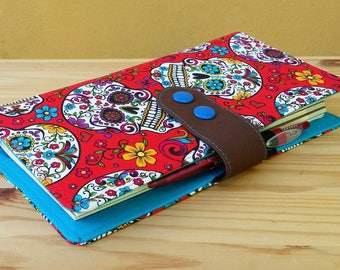 Fabric Travelers Notebook  Fauxdori Red Sugar skulls internal pockets pen loop