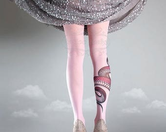 ON SALE/// NEW light pink one size Snake full length printed tights closed toe pantyhose tattoo tights by tattoo socks