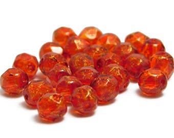 Fire Polished Beads - Round Beads - Orange Fire Polished - 6mm Beads - Glass Beads - Faceted Beads - Czech Beads - 25pcs (3309)