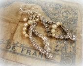 bellissimo one of a kind vintage assemblage earrings asymmetrical rhinestones and pearls sterling silver ear wires