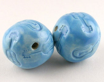 Musical Blue Ceramic Beads, guitar theme beads, turquoise music beads, blue music beads, turquoise beads, turquoise stoneware beads