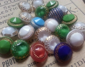 "20 Vintage Glass Buttons. Measure 5/8"" with Glass Shank."