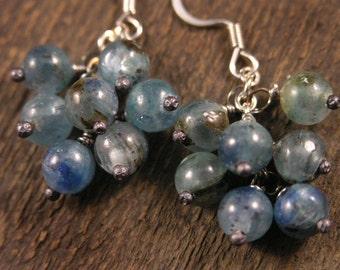 Blue kyanite gemstone and silver handmade earrings