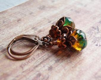 Firelight Earrings 9 x 6 Blue Zircon and Topaz Glass Dangle Antique Copper Ear Wire Handmade