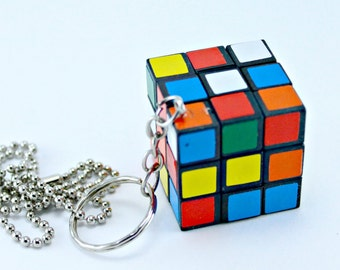 Mini Rubik's Cube Game Puzzle Necklace Pendant with 16 Inch Ballchain