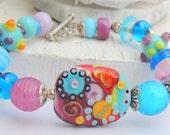 SALE TRANQUIL Handmade Lampwork Bead Bracelet