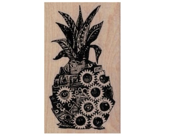 rubber stamp Pineapple  tangle  Steampunk  Stamp whimsical  Rubber Stamp by Mary Vogel Lozinak  20105  Gummistempel