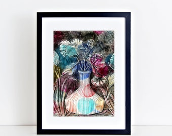 Night Blooms A5 Print 15 x 21 cm from my mixed media illustration