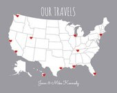 Couples Travel Map to Mark Places You Visit, Gift for Him or Her, Personalized USA Map, Our Travels, DIY Christmas Gift for Husband or Wife