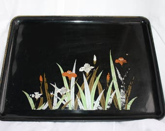 Vintage Mid Century Modern Otagiri Lacquerware Japan Serving Cocktail Decorative Tray Iris Flowers 50s Barware Functional Art