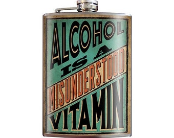 Alcohol is a Misunderstood Vitamin - fun novelty vintage style 8oz Stainless Steel Flask - comes in a GIFT BOX -  by Trixie & Milo