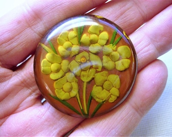 Gorgeous Vintage Reverse Carved and Painted Bakelite Button-Test Positive