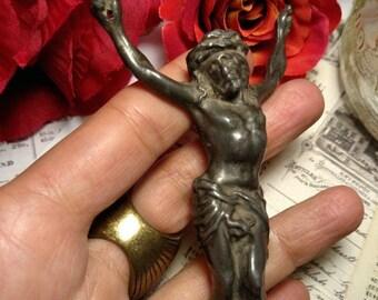 Old Antique Darkened Metal Crucifix Fragment Jesus Crucifixion Figure Worn Weathered Religious Relics