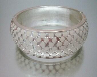 Off White Polka Dot Enamel Bracelet Wide Clamper