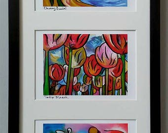 "Cherry Tulip Bloom ~ Framed set of three most popular prints~ 20""x10"" ~ FREE SHIPPING ~ Signed art by Joel Traylor"
