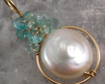 White Pearl  & Apatite Wire Wrapped Pendant
