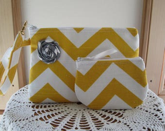 Wedding Bag Bridal Chevron in Gold and white Smart phone Case Gadget Pouch Clutch Wristlet Zipper Gadget Pouch Bag  Made in USA Set