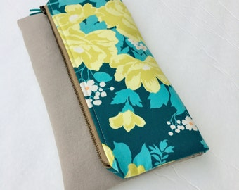 Fold over clutch, Extra large zippered pouch, teal floral