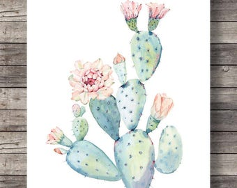 Cacti art print | Printable art | Watercolor cactus | Hand painted watercolor cactus |  decor Printable wall art, pastel cactus art cactus
