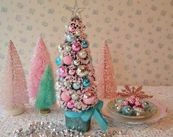 HOLD for MIA - Bottle Brush Tree - Aqua, Pink, Teal, Crystal Star, Mercury Glass, OOAK!