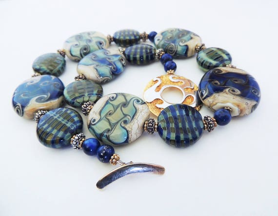 Artisan Lampwork Summer Blues Necklace Bold and Beautiful