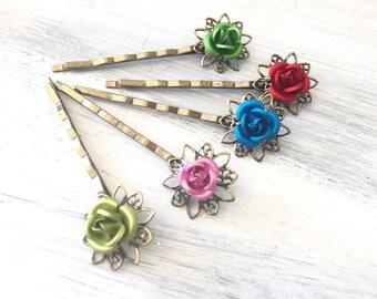 Simple Rose Hair Pins, sold individually