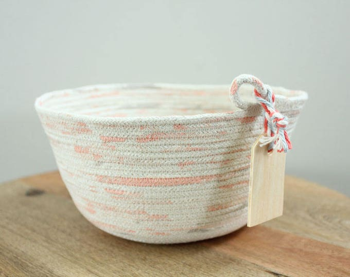 Basket rope coil natural thread painted coral grey bin storage organizer bowl wooden tag by PETUNIAS