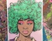 Green Kawaii Comic Girl Sticker