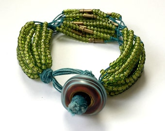 Seed Beads and Linen Multi Strand Bracelet Teal and Green