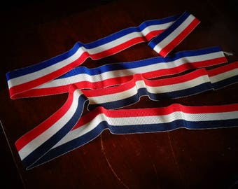 Vintage Military Red White and Blue War Ribbon in Very Good Condition 3 feet for each length/ you get both