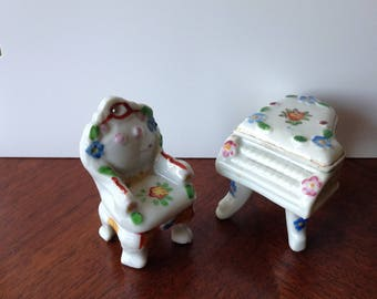 Vintage miniature porcelain Piano and Chair sign Occupied Japan