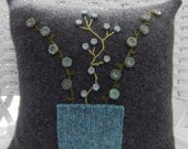 Recycled Cashmere Argyle Decorative Flower Pillow in Charcoal Grey - Vase of Glass Buttons