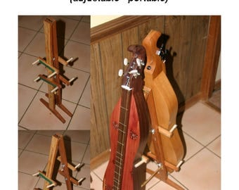 Hand-Made Mountain Dulcimer Double Stand with Optional Music Clipboard and Guitar-Ukulele Support