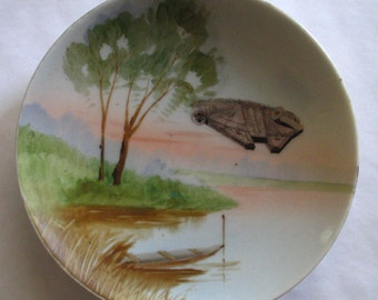 Millennium Falcon Arrives on Vintage Landscape Plate-Han Solo Chewbacca Star Wars